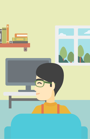 living room tv: An asian young man sitting on the couch in living room and watching tv. Vector flat design illustration. Vertical layout.