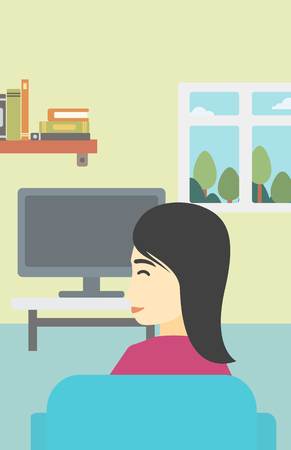young woman sitting: An asian young woman sitting on the couch in living room and watching tv. Vector flat design illustration. Vertical layout.