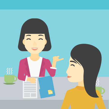 An asian female journalist interviewing a young man on a light blue background. Vector flat design illustration. Square layout.