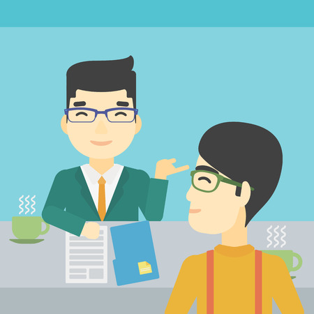 An asian male journalist interviewing a young man on a light blue background. Vector flat design illustration. Square layout. Illustration