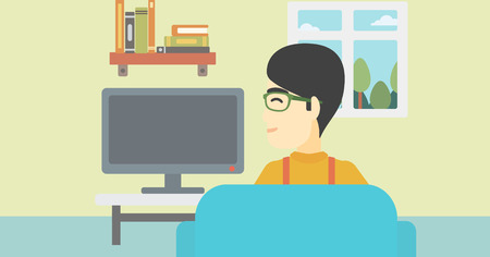 living room tv: An asian young man sitting on the couch in living room and watching tv. Vector flat design illustration. Horizontal layout.