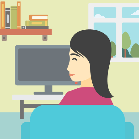 woman watching tv: An asian young woman sitting on the couch in living room and watching tv. Vector flat design illustration. Square layout.