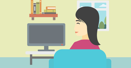 young woman sitting: An asian young woman sitting on the couch in living room and watching tv. Vector flat design illustration. Horizontal layout.