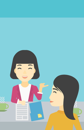 An asian female journalist interviewing a young man on a light blue background. Vector flat design illustration. Vertical layout. Illustration