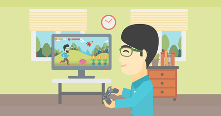 playstation: An asian young man playing video game with gamepad in hands in living room. Vector flat design illustration. Horizontal layout.