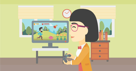 playing video game: An asian young woman playing video game with gamepad in hands in living room. Vector flat design illustration. Horizontal layout. Illustration