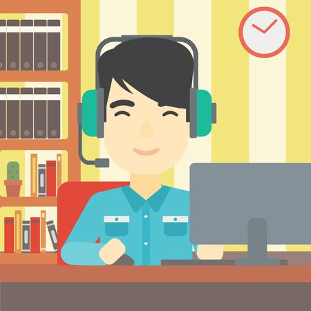 gamer: An asian man playing computer game on the background of living room. Gamer in headphones playing online games. Gamer using computer for playing game. Vector flat design illustration. Square layout. Illustration