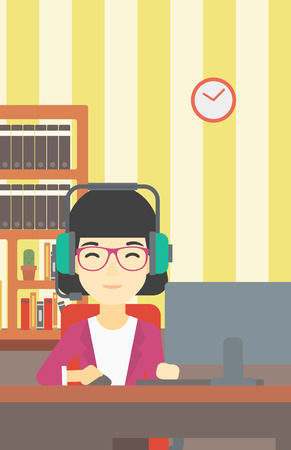 gamer: Asian woman playing computer game on the background of living room. Gamer in headphones playing online games. Gamer using computer for playing game. Vector flat design illustration. Vertical layout. Illustration