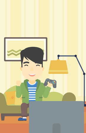 playing video game: An asian happy gamer playing video game on the television. An excited young man with console in hands playing video game at home. Vector flat design illustration. Vertical layout.