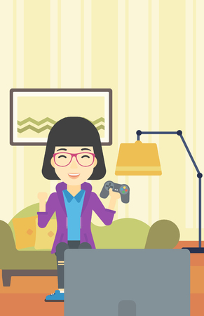 home video: An asian happy gamer playing video game on the television. An excited young woman with console in hands playing video game at home. Vector flat design illustration. Vertical layout.