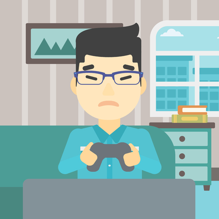 playing video game: An asian aggressive gamer playing video game on the television and losing. An angry young man with console in hands playing video game at home. Vector flat design illustration. Square layout.