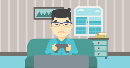 playing video game: An asian aggressive gamer playing video game on the television and losing. An angry young man with console in hands playing video game at home. Vector flat design illustration. Horizontal layout. Illustration