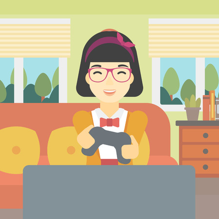 playing video game: An asian happy gamer playing video game on the television. An excited young woman with console in hands playing video game at home. Vector flat design illustration. Square layout.