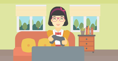 ethnicity happy: An asian happy gamer playing video game on the television. An excited young woman with console in hands playing video game at home. Vector flat design illustration. Horizontal layout. Illustration
