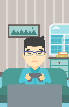 playing video game: An asian aggressive gamer playing video game on the television and losing. An angry young man with console in hands playing video game at home. Vector flat design illustration. Vertical layout.