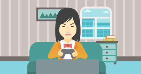 playing video game: An asian aggressive gamer playing video game on the television and losing. An angry young woman with console in hands playing video game at home. Vector flat design illustration. Horizontal layout. Illustration