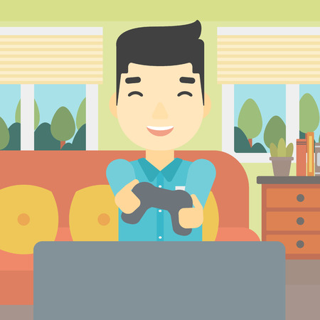playing video game: An asian happy gamer playing video game on the television. An excited young man with console in hands playing video game at home. Vector flat design illustration. Square layout.