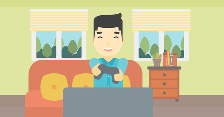 playing video game: An asian happy gamer playing video game on the television. An excited young man with console in hands playing video game at home. Vector flat design illustration. Horizontal layout. Illustration