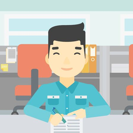 signing: An asian young businessman signing business documents in office. Man is about to sign a business agrement. Confirmation of business transaction. Vector flat design illustration. Square layout.