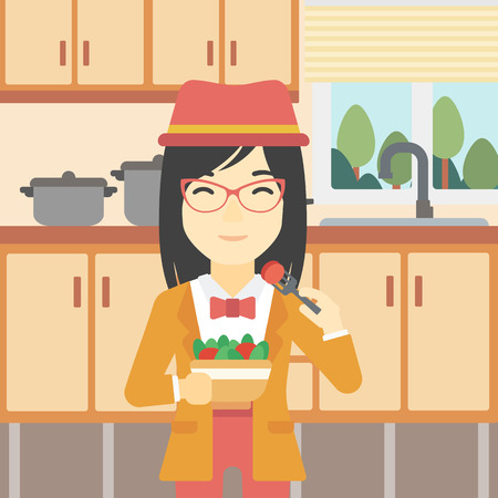 woman eating: An asian woman eating healthy vegetable salad. Woman eating fresh vegetable salad at home. Woman holding bowl full of salad in the kitchen. Vector flat design illustration. Square layout. Illustration