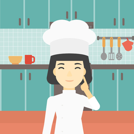 forefinger: An asian chief-cooker in uniform standing in the kitchen and pointing forefinger up. Chef thinking about the recipe. Chef having an idea. Vector flat design illustration. Square layout. Illustration