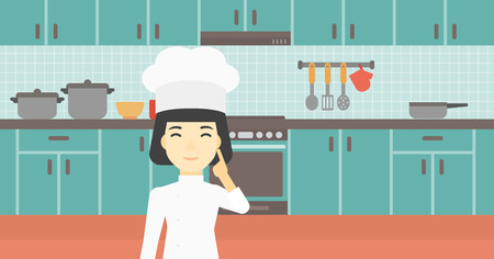 An asian chief-cooker in uniform standing in the kitchen and pointing forefinger up. Chef thinking about the recipe. Chef having an idea. Vector flat design illustration. Horizontal layout. Ilustrace