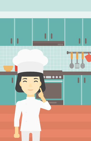 forefinger: An asian chief-cooker in uniform standing in the kitchen and pointing forefinger up. Chef thinking about the recipe. Chef having an idea. Vector flat design illustration. Vertical layout.