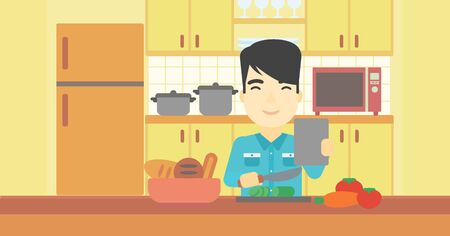 hombre cocinando: An asian man cutting vegetables for salad. Man following recipe for salad on digital tablet. Man cooking vegetable salad in the kitchen. Vector flat design illustration. Horizontal layout.
