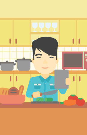 hombre cocinando: An asian man cutting vegetables for salad. Man following recipe for salad on digital tablet. Man cooking vegetable salad in the kitchen. Vector flat design illustration. Vertical layout.