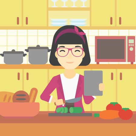 An asian woman cutting vegetables for salad. Woman following recipe for salad on digital tablet. Woman cooking healthy salad in kitchen. Vector flat design illustration. Square layout.
