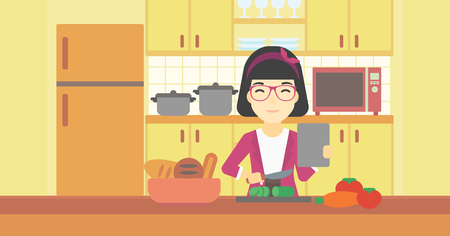 woman tablet: An asian woman cutting vegetables for salad. Woman following recipe for salad on digital tablet. Woman cooking healthy salad in kitchen. Vector flat design illustration. Horizontal layout.