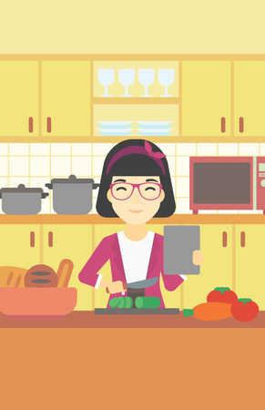 An asian woman cutting vegetables for salad. Woman following recipe for salad on digital tablet. Woman cooking healthy salad in kitchen. Vector flat design illustration. Vertical layout.