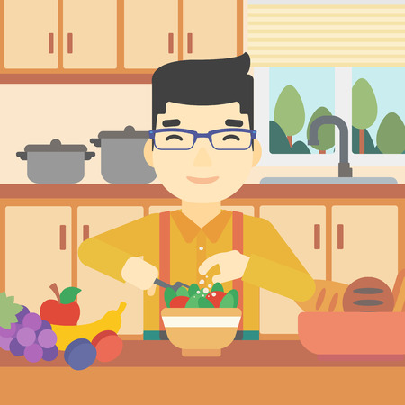 asian man smiling: An asian young man cooking vegetable salad on the background of kitchen. Smiling man adding spices in salad. Vector flat design illustration. Square layout. Illustration