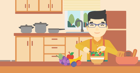 prepare: An asian young man cooking vegetable salad on the background of kitchen. Smiling man adding spices in salad. Vector flat design illustration. Horizontal layout.