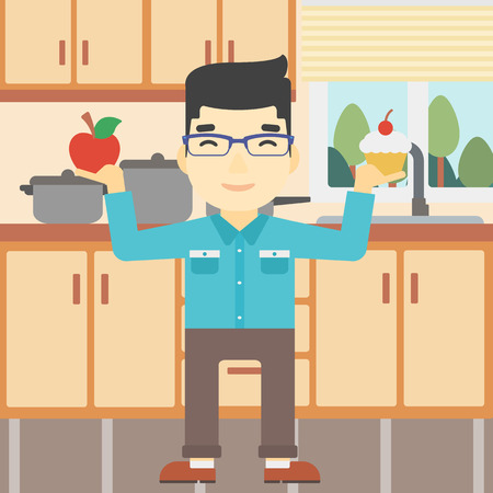 choosing: An asian man standing with apple and cupcake in hands in the kitchen. Man choosing between apple and cupcake. Dieting concept. Vector flat design illustration. Square layout. Illustration