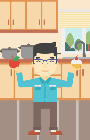 choosing: An asian man standing with apple and cupcake in hands in the kitchen. Man choosing between apple and cupcake. Dieting concept. Vector flat design illustration. Vertical layout. Illustration