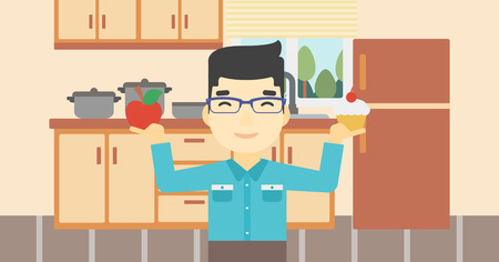 choosing: An asian man standing with apple and cupcake in hands in the kitchen. Man choosing between apple and cupcake. Dieting concept. Vector flat design illustration. Horizontal layout.