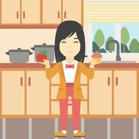 choosing: An asian young woman standing with apple and cupcake in hands in the kitchen. Woman choosing between apple and cupcake. Dieting concept. Vector flat design illustration. Square layout.
