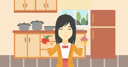 choosing: An asian young woman standing with apple and cupcake in hands in the kitchen. Woman choosing between apple and cupcake. Dieting concept. Vector flat design illustration. Horizontal layout.