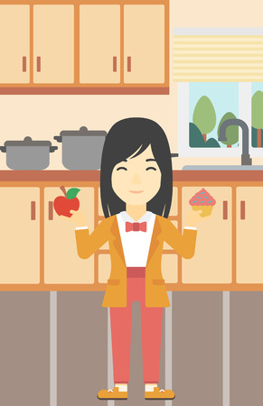choosing: An asian young woman standing with apple and cupcake in hands in the kitchen. Woman choosing between apple and cupcake. Dieting concept. Vector flat design illustration. Vertical layout. Illustration
