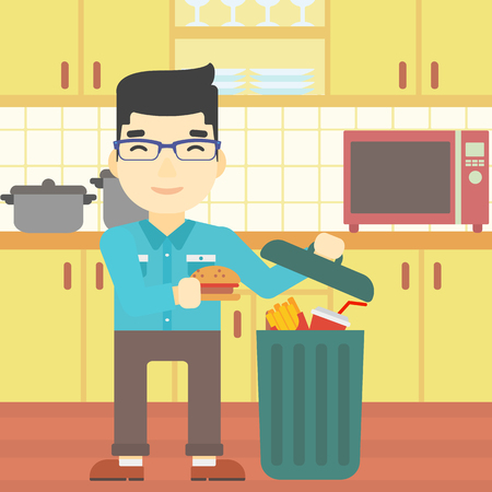 refusing: An asian man putting junk food into trash bin. Man refusing to eat junk food. Man throwing junk food on the background of kitchen. Diet concept. Vector flat design illustration. Square layout. Illustration