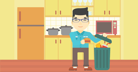 poor diet: An asian man putting junk food into trash bin. Man refusing to eat junk food. Man throwing junk food on the background of kitchen. Diet concept. Vector flat design illustration. Horizontal layout.