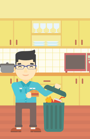 refusing: An asian man putting junk food into trash bin. Man refusing to eat junk food. Man throwing junk food on the background of kitchen. Diet concept. Vector flat design illustration. Vertical layout.