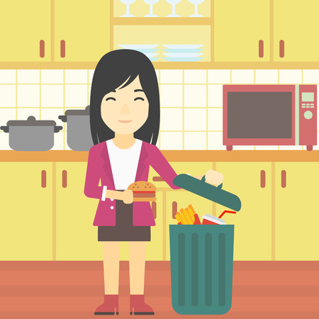 woman throwing: An asian woman putting junk food into trash bin. Woman refusing to eat junk food. Woman throwing junk food on the background of kitchen. Diet concept. Vector flat design illustration. Square layout.