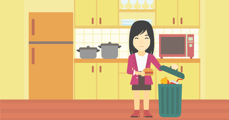 An asian woman putting junk food into trash bin. Woman refusing to eat junk food. Woman throwing junk food on the background of kitchen. Diet concept. Vector flat design illustration. Horizontal layout.