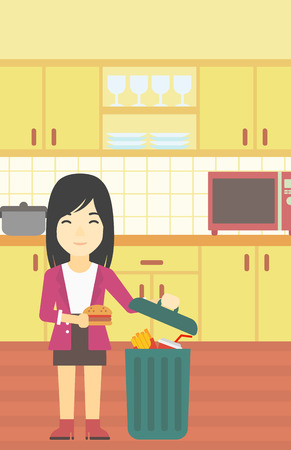 An asian woman putting junk food into trash bin. Woman refusing to eat junk food. Woman throwing junk food on the background of kitchen. Diet concept. Vector flat design illustration. Vertical layout.