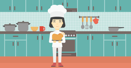 whole chicken: An asian chief cooker holding roasted chicken in the kitchen. Chief cooker with whole baked chicken. Chief cooker with fried chicken. Vector flat design illustration. Horizontal layout.