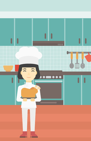 whole chicken: An asian chief cooker holding roasted chicken in the kitchen. Chief cooker with whole baked chicken. Chief cooker with fried chicken. Vector flat design illustration. Vertical layout.