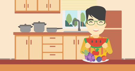 asian man smiling: An asian man eating watermelon in front of table full of fresh fruits. Smiling young man holding a slice of watermelon in the kitchen. Vector flat design illustration. Horizontal layout. Illustration