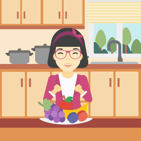 An asian woman standing in front of table full of fresh fruits in the kitchen. An excited young woman eating fruits. Healthy food concept. Vector flat design illustration. Square layout. Stock Illustratie